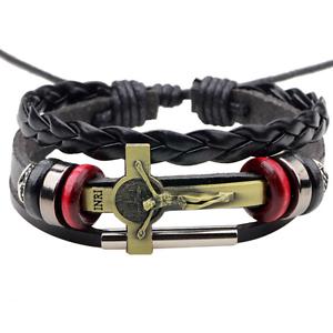 Fashion-Men-Black-Leather-Belt-Bronze-Jesus-Beads-Bangle-Bracelet-Wristband-Gift