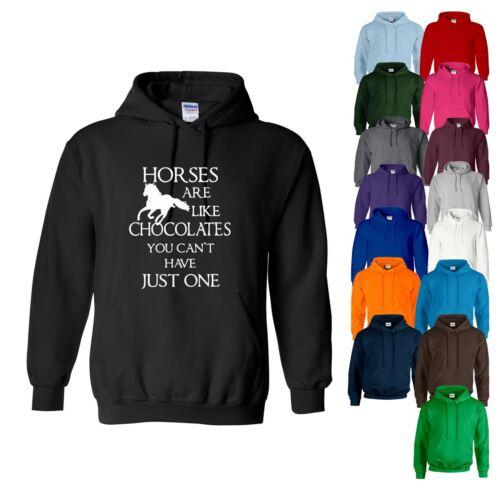 Sweat à capuche chevaux sont comme des chocolats Horse Riding Equestrian Femmes Sweat