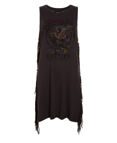 Nineteen Charcoal Dress Washed laterale Seconda frangia Superdry New Womens Factory 6xOPPY