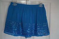 Hollister Blue Short Skirt Sequin Lined Stretch Waist Size S