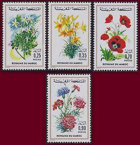 1975 Maroc N°717/720** Fleurs, Flore Marocaine, 1975 Morocco Flowers Mnh Activation De La Circulation Sanguine Et Renforcement Des Nerfs Et Des Os