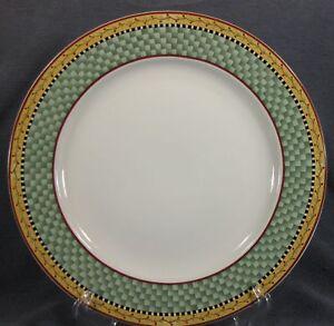 Sakura-JOY-TO-THE-WORLD-Dinner-Plate-Debbie-Mumm-Green-Plaid-Rim-Stoneware