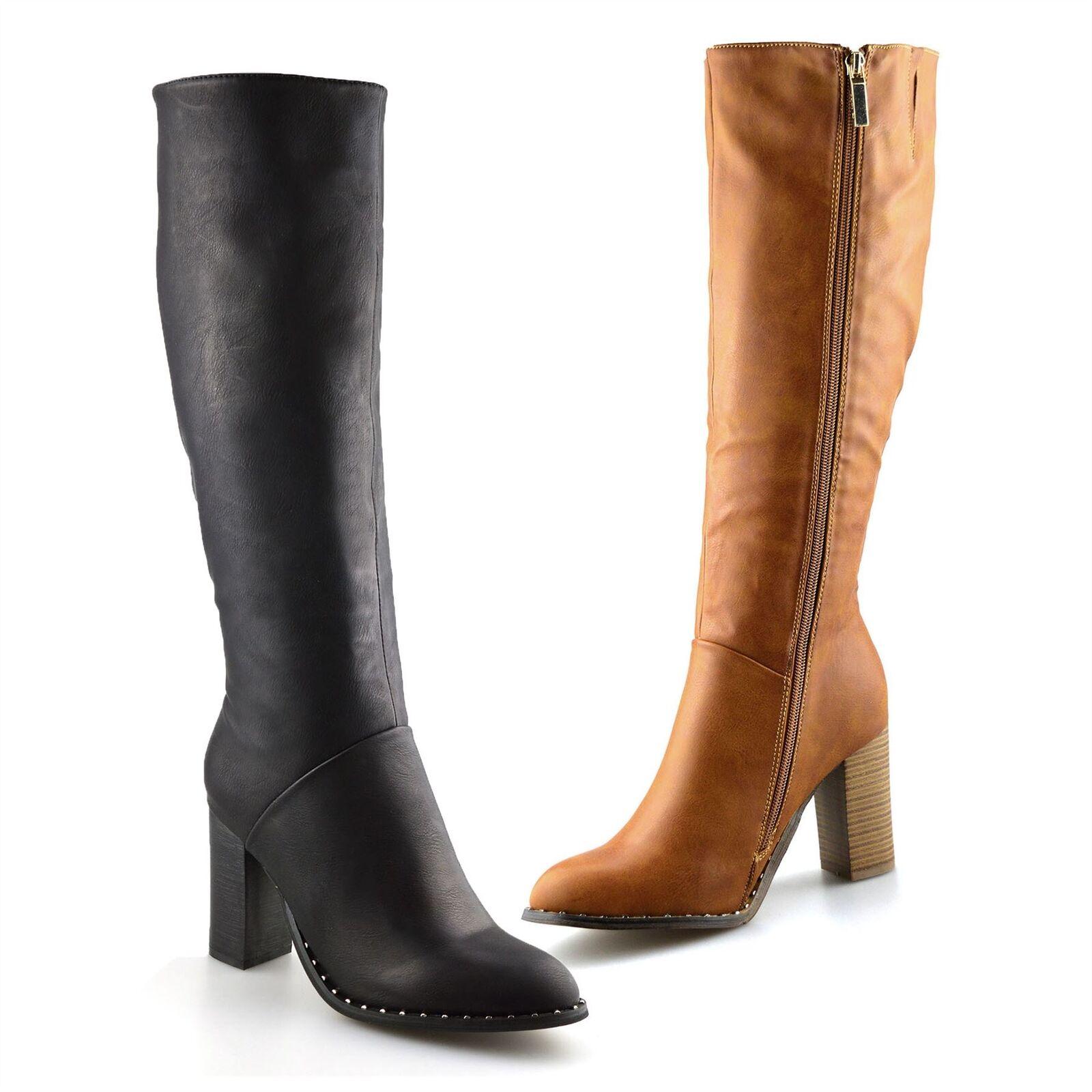 Ladies Womens Knee High Block Heel Zip Up Winter Riding Biker Boots Shoes Size