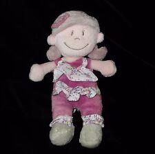 "Noukies Kenza Doll 7"" Purple Flowers  Soft Toy Plush Lovey Belgium"