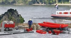 BNIB-OO-HO-BUSCH-1077-FLOOD-RESCUE-SET-BOAT-WITH-TRAILER-ACCESSORIES