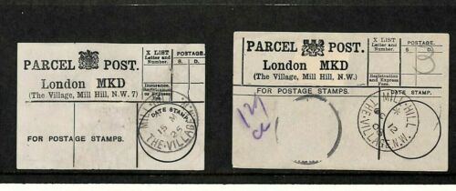 GB Parcel Post Labels Village Mill Hill London Matched Pair 19081925 MS1535