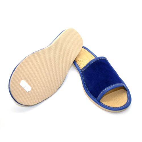 Blue Suede Slippers for Womens /& Ladies 100/% Natural Suede Size 3 4 5 6 6.5 7 S
