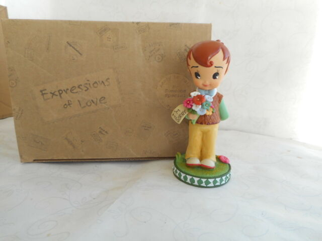 Demdaco  Sorry  Boy With Teddy Bear /& Flowers Figurine  Expressions of Love 2002