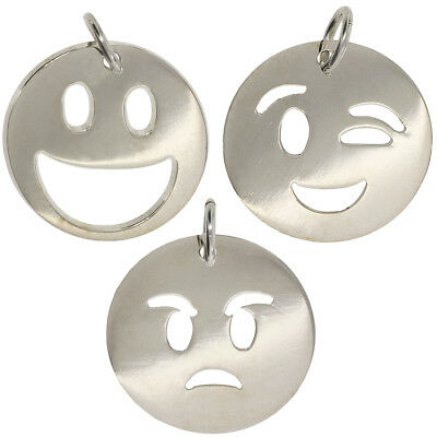 925 Sterling Silver Emoji Faces Smiley Angry Dog Tag Name Chain Belcher Gift Box Precious Metal Without Stones