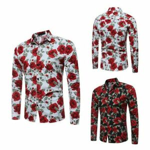 Dress-shirt-luxury-men-039-s-formal-t-shirt-slim-fit-tops-long-sleeve-floral-casual
