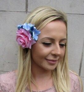 Bubblegum Pink Light Blue Rose Hydrangea Flower Hair Clip Fascinator ... ee4f21e1153