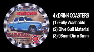 4-x-MORRIS-MARSHAL-MOTORCAR-CAR-LUXURY-DELUXE-MODEL-DRINK-COASTERS
