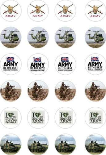 24x Precortada Ejercito Fuerzas Armadas day//military//navy rice//wafer Papel Cup Cake Toppers