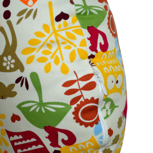 LL08n Orange Olive Yellow Owl On Beige Cotton Canvas Round Shape Cushion Cover