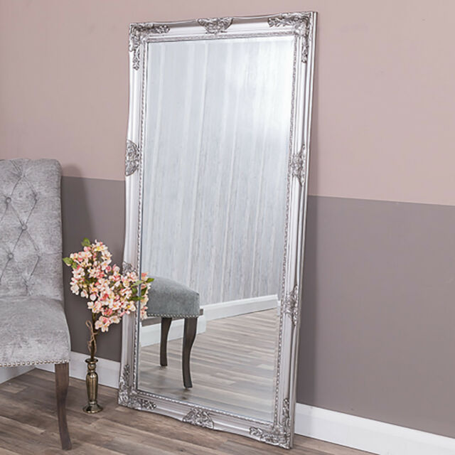 Extra Large Silver Wall Mirror Floor Ornate Bedroom Hall Home 160cm X 80cm