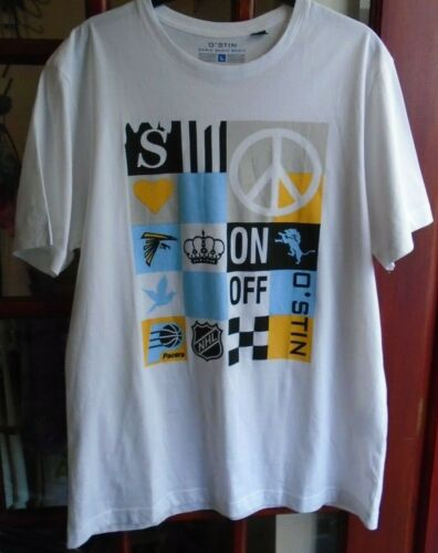 SALE NEW O/'STIN MANS WHT//YLW//GRY//BLUE T-SHIRT LOGO ON//OFF ON FRONT SIZE 2XL SALE