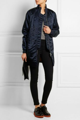 Acne Studios Aude Satin Bomber Jacket Midnight Blu