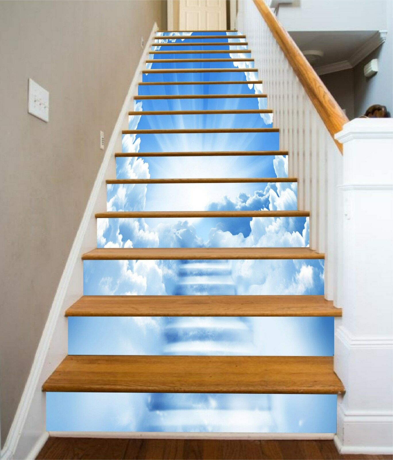 3D bianca Clouds 4 Stair Risers Decoration Photo Mural Vinyl Decal Wallpaper CA