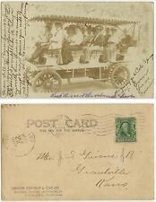 1906 Grantville Kansas tourists in Denver Colorado on tour bus Real Photo