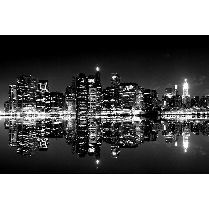 Quadro Stampa su New Pannello in Legno MDF Femmehattan di notte, New su York City 6b1ad4