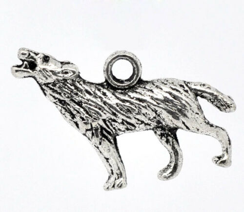 20 Antiksilber Wolf Anhänger Perlen Beads 25x18mm