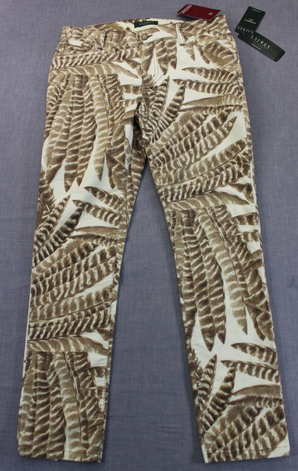 RALPH LAUREN Womens JUNGLE PRINT Slimming Stretch PANTS NWT 6P Petite 31x29  119