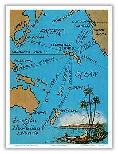 Details about Hawaiian Islands Map Pacific Ocean Aloha Japan Vintage Art  Poster Print