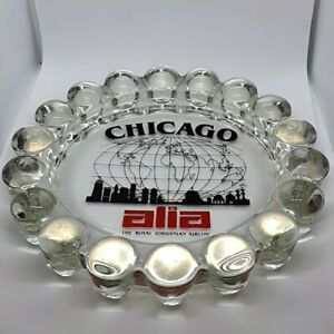RARE-Vintage-Chicago-Alia-Royal-Jordanian-Airline-Hobnail-Glass-Ashtray-Souvenir