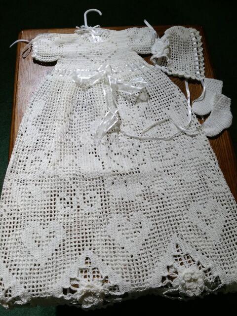 3026f0fd0955 Handmade heirloom filet crochet baby christening set, size 0-3 months