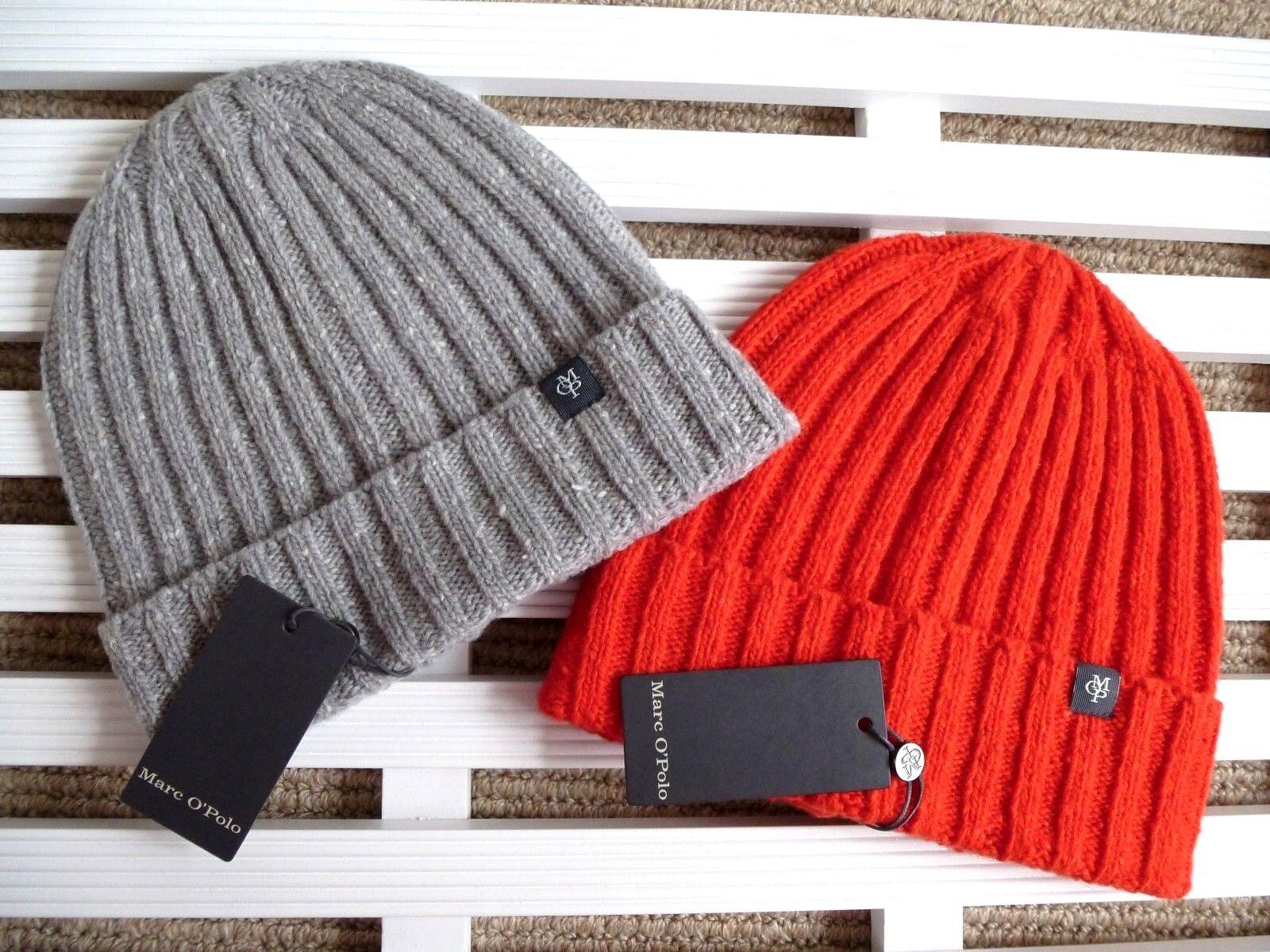 MARC O'POLO Wool Rib Cuff BEANIE Hat Toque Grey or Fiery Red OSFA Made In ITALY