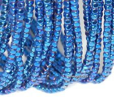 4X4MM BLUE HEMATITE GEMSTONE ÿROUNDED CUBEÿ 4X4MM LOOSE BEADS 15.5""