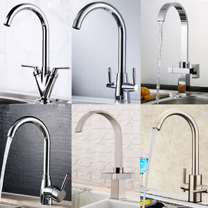 Modern Kitchen Sink Tap Single/Twin Lever Swivel Spout Mono Basin ...