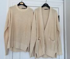 Donna Karan Collection Ivory Cotton/Silk/Paper Twin Set Sweater Set Top Sz.L