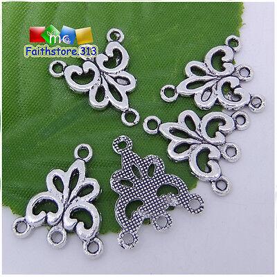 10/30pcs Tibetan Silver Tone Flower 1 To 3 holes Connectors Charms 17x19mm P098