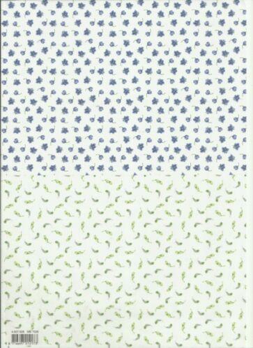 4 hojas de papel de vitela A4 impresos Diseños Florales Decoupage o las hojas del forro