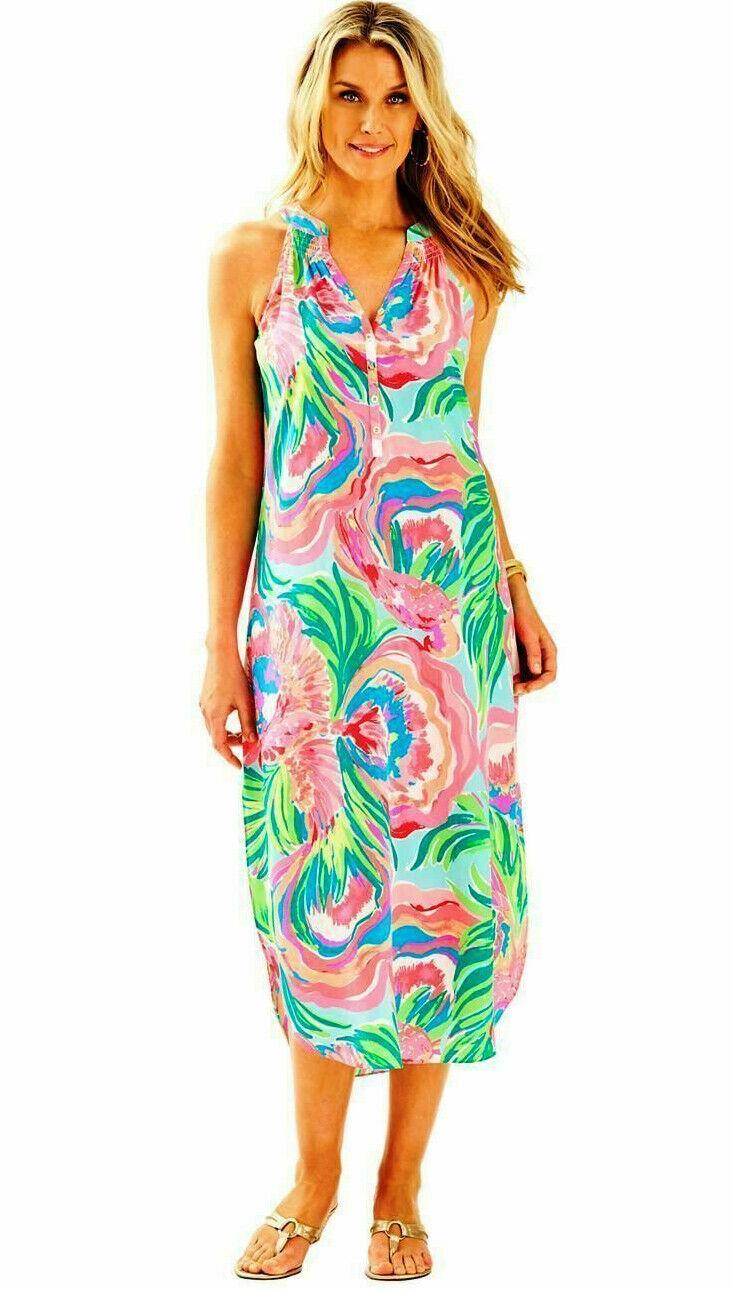 Lilly Pulitzer BAILEY 100% 100% 100% Silk Midi Dress Serene Blau PARADISE BOUND  218 Small c54