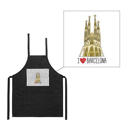 100% Vero Tablier Noir De Cuisine Barbecue I Love Barcelona Sagrada Familia Imprimé Il Prezzo Rimane Stabile