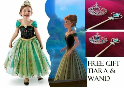 New Girls Disney Frozen Princess Anna Costume Birthday Party Dress Size 6.7