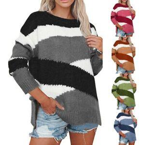 Women-Sweater-Crew-Neck-Color-Block-Long-Sleeve-Knit-Jumper-Pullover-Tops-UK