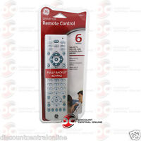 Ge 24918 6-device Universal Remote Control Works With Tv Dvd Vcr & Others