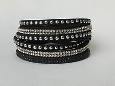Fashion Leather Wrap Swarovski Crystal Rhinestone Bracelet Ebony Black