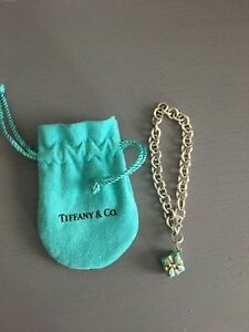 54e90ed87da39 Details about Tiffany & Co Blue Enamel Silver Gift Box Charm Pendant and  Bracelet / Authentic!