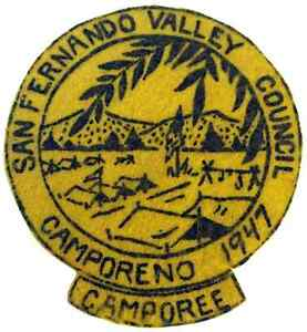 Boy-Scout-Early-Felt-San-Fernando-Valley-Council-Camporeno-1947-Patch-Badge-BSA