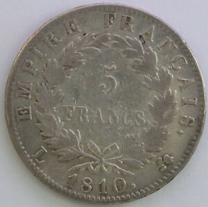 FRANCE-5-FRANCS-NAPOLEON-EMPEREUR-1810-L-TB