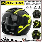 NEUF CASQUE JET ACERBIS X-JET ON BIKE CAMO NOIR/JAUNE MOTO SCOOTER XS 53-54