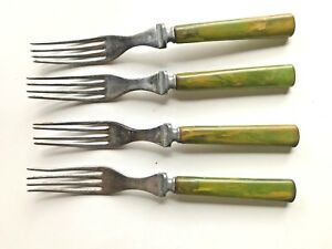 Forks-With-Green-Marbled-Plastic-Handles