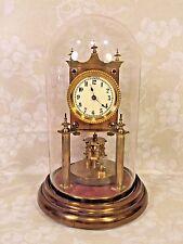 Antique German 400 Day Clock Torsion Pendulum Running? Nice Glass Dome Porcelain