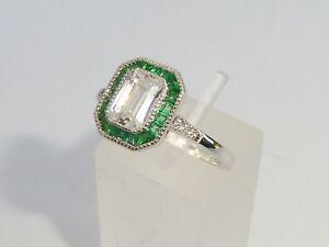 Damen-Art-Deco-Halo-Stil-925-Sterling-Feinsilber-Smaragd-Weiss-Saphir-Ring
