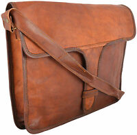 Real Leather Handmade Messenger Brown Vintage Sleeve Laptop Case Soft Padded Bag