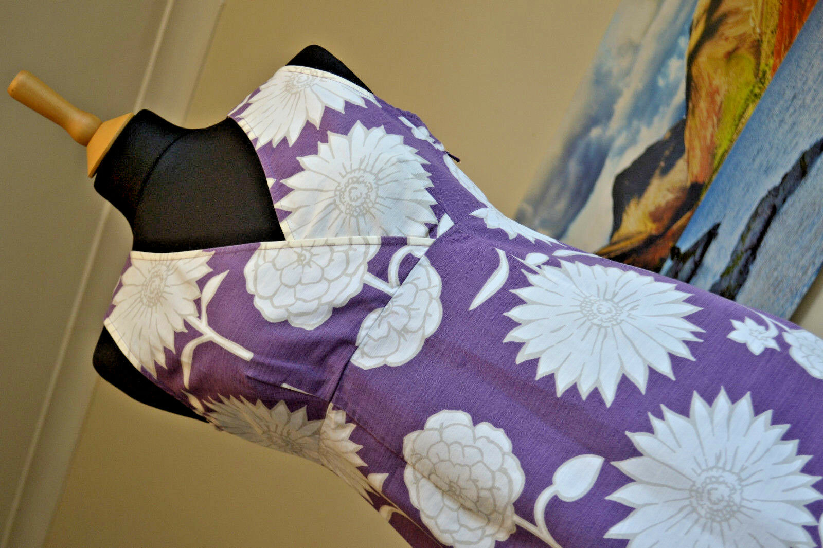 BODEN Floral A Line Dress Purple and White Summer Light Sleeveless Sz. R